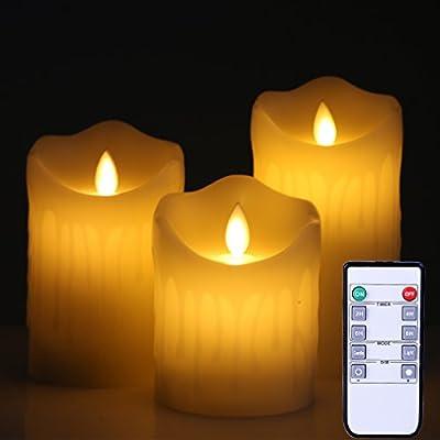 Flameless Candles LED Flickering Light Pillar Real Drip Pillar Wax for Wedding and Decoration