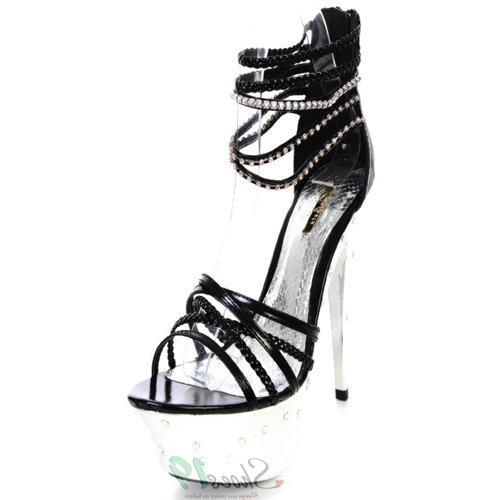 Sandalias De Plataforma Celeste Yucci-01 Rhinestone Para Mujer Zapatos De Moda Negro