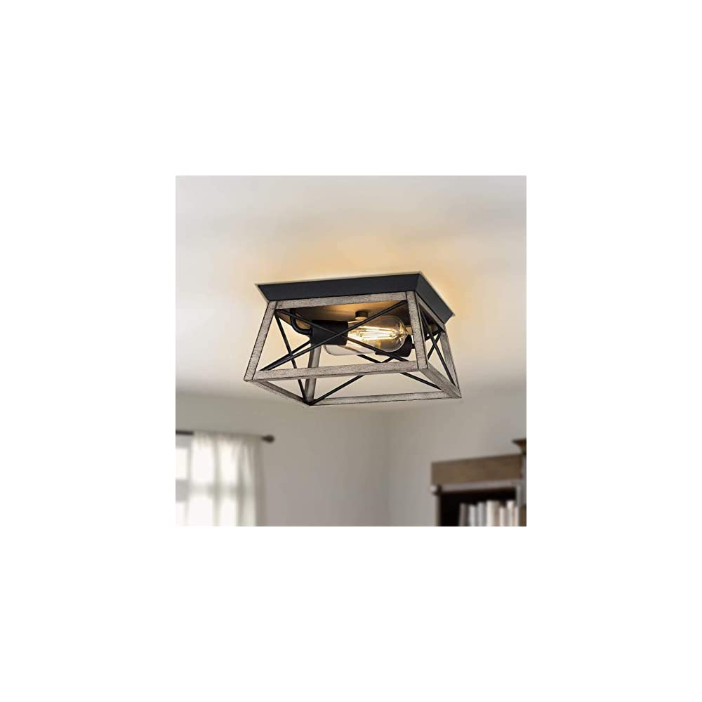 2-Light Flush Mount Ceiling Light, Farmhouse Close to Ceiling Light with Metal Geometric Shape and X- brace Design…