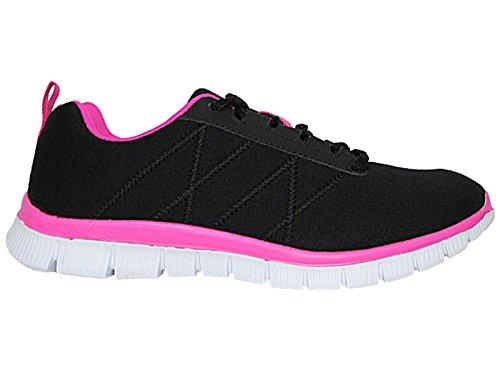 décontracté Chaussures course Gym 6–11 lacets à Pour de Black Taille All filet maille Confort Sports en Baskets léger homme Fuchsia Pa6q78