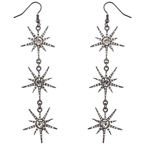 Lux Accessories Hematite Crystal Rhinestone Three Tier Starburst Dangle Earrings