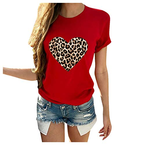 NANTE Top Women's Blouses Leopard Print Heart-Shaped T-Shirt Casual Short Sleeve O Neck Tee Top Valentine's Day Tunic Shirts (Red, XL)