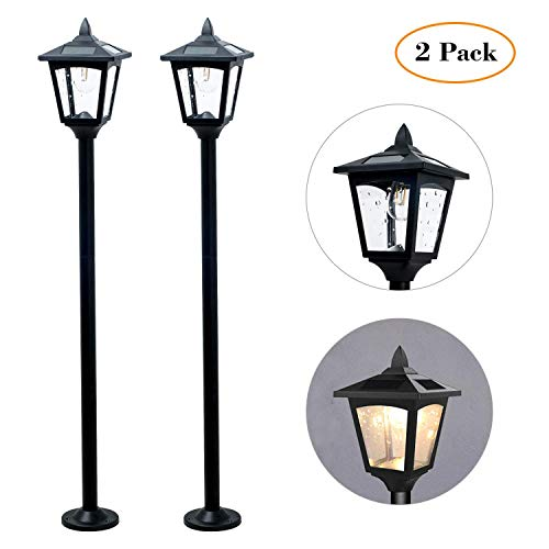 42 Inches Mini Street Post Outdoor Garden Solar Lamp Post Light Lawn - Adjustable (2 - Lamps Plastic Solar