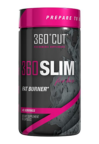 360SLIM Female Fat Burner Appetite Suppressant with Green Coffee Bean, Yerba Mate, Guarana, Raspberry Ketones, and Caffeine. 90 Capsules by 360Cut