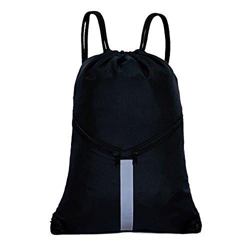 KORIDO Drawstring Backpack Unisex Sport Gym Sack Reflective Bag (Black)