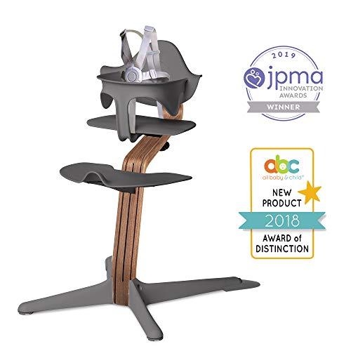 Nomi High Chair, Gray - Premium Walnut Wood, Modern Scandinavian Design with a Strong Wooden Stem, Baby through Teenager and Beyond with Seamless Adjustability, Award Winning Highchair
