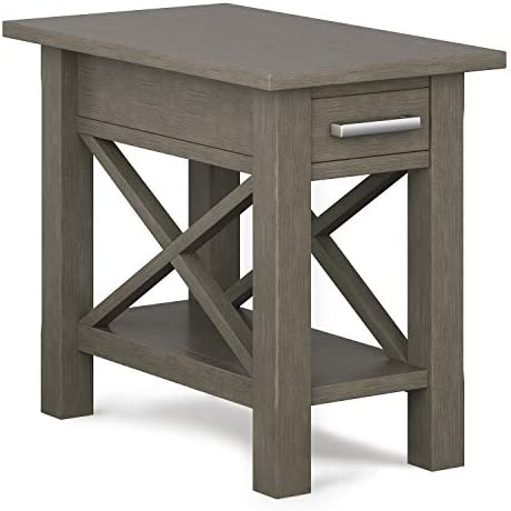 SIMPLIHOME Kitchener SOLID WOOD 14 inch wide Rectangle Contemporary Narrow Side Table