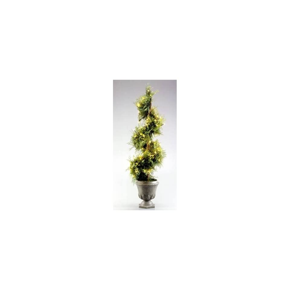 National Tree Company KNJS 300 45 4.5 Foot Juniper Evergreen Christmas Spiral Tree with 100 Clear Lights in Gray Fiberglass Pot (Indoor/Outdoor)