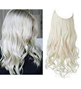 Halo Hair Extension Platinum Blonde Wavy Curly Long Synthetic Hairpiece Hidden Wire Headband for ...