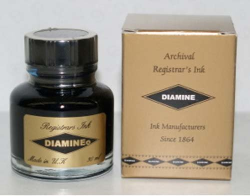 Diamine Registrars Ink Blue / Black 30mL Bottled Ink - DM-3038