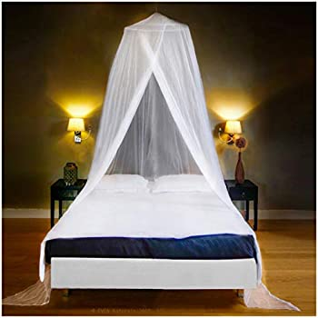 Amily White Dome Mosquito Net Bed Canopy Ceiling Curtain Anti-Mosquito Insect Net for Single Twin Full Gueen Bed