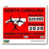 North Carolina NC Zombie Hunting License Permit Red - Biohazard Response Team - Window Bumper Locker Sticker