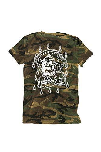 Ink Addict Unisex T-Shirts - Skull Graphic Tee for Men & Women - Camo - - Camo Addict