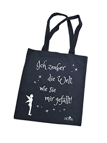 Jutebeutel bedruckt mit lustigem Spruch / Stoffbeutel / Jute Beutel Ich zauber mir die Welt / Einkaufsbeutel aus Baumwolle mit Sprüchen von 3 Elfen - schwarz schwarz TzIzTf9