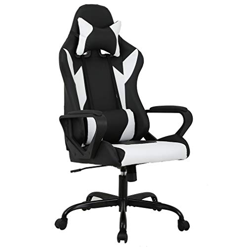 ir PC Office Chair Computer Racing Chair PU Desk Task Chair Ergonomic Executive Swivel Rolling Chair with Lumbar Support for Back Pain Women, Men(White) ()