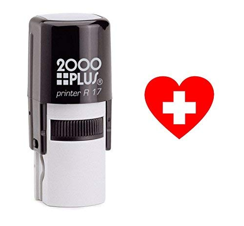 Heart and Cross Cosco Round Self Inking Rubber Stamp - Red Ink