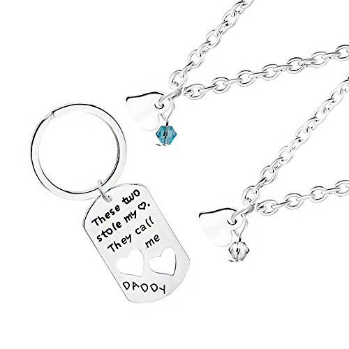 MA&SN 3 Pieces Necklace Key Chain These two stole my heart call me Daddy Gift for Men Father for Dad for Papa Mens 3 Piece Gift
