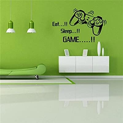 Koolee Eat Sleep Game DIY Wall Sticker Boys Bedroom Wall Decal Room Game Machine Household Stick Wall Removable Sticker Decors