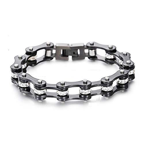 Qiaonitu Jewelry 10mm Unisex Stainless Steel Crystal Rhinestone Motorcycle Biker Bike Chain Link Bracelets Bangle Multicolor 17.5-21.5cm (Black, 21.5)
