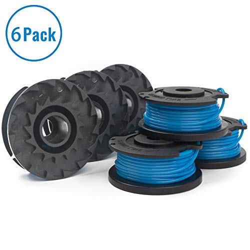 """X Home String Trimmer Spools Replacement for Greenworks Weed Eater Refills Line 29252 16ft 0.065"""" 21332 21342 Autofeed Spool Single Line Parts Grass Trimmers Lines Cord (6 Spool) -"""