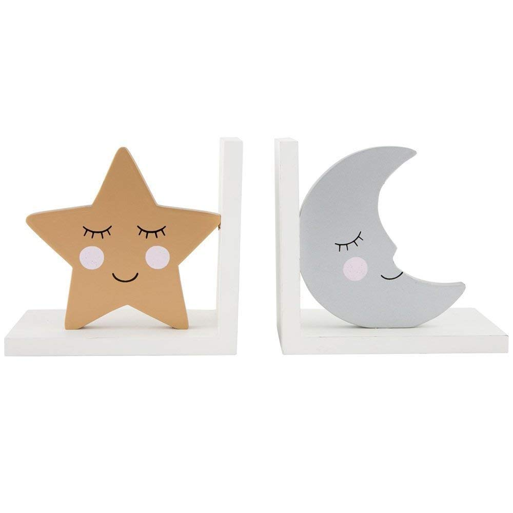 Sass /& Belle Dreams Star and Moon Wooden Bookends