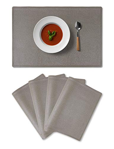 (Alpiriral Placemats Heat Resistant Place Mats Set of 4 Easy Wipe PlaceMats for Kitchen Table in Grey)