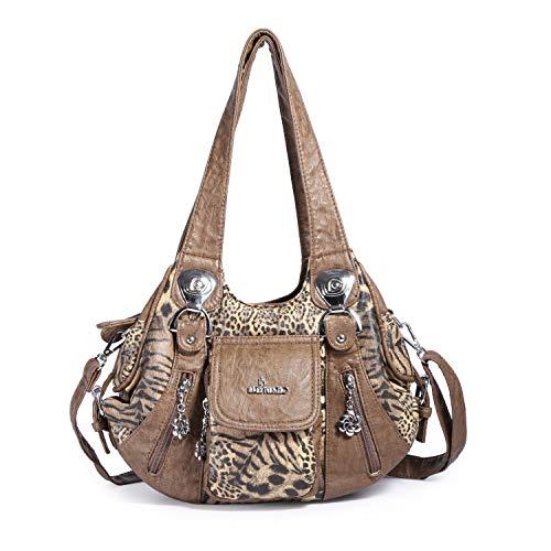 Angel Barcelo Mini Shoulder Bag for Women Messenger Handbags Cross Body Multi Zipper Pockets Bag (Brown-leopard) - Leopard Hobo Bag
