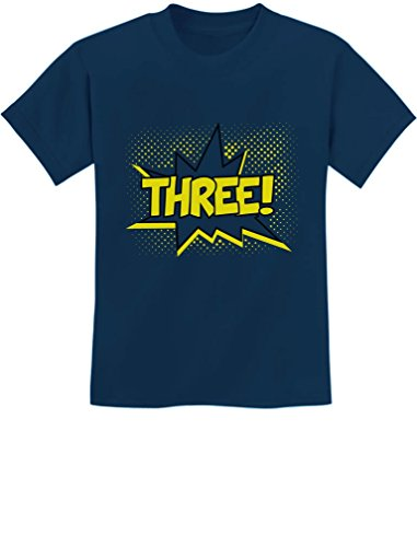 TeeStars - Three! Superhero Third Birthday - 3 Years Old Gift Idea Kids T-Shirt 4T Navy]()