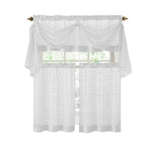 GoodGram Linen Leaf 4 Piece Kitchen Curtain Set By Victoria Classics (White)