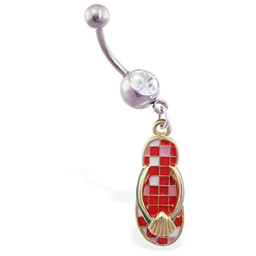 MsPiercing Jeweled Navel Ring With Dangling Red Checkered Flipflop With Shell (Button Belly Checkered Ring)