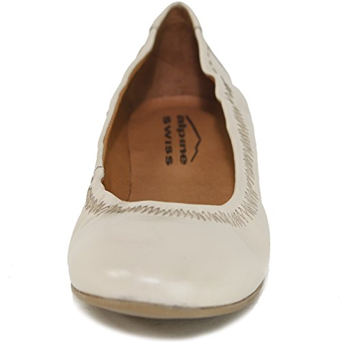 alpine swiss Womens Shoes Ballet Flats Genuine European Leather Comfort Loafer Cream jNj7xoesi