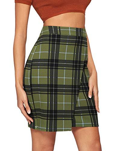 WDIRARA Women's Basic High Waist Bodycon Mini Plaid Uniform Skirt Army Green L ()