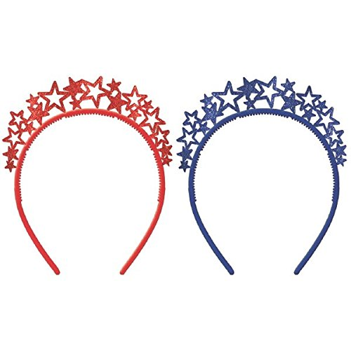 - Amscan 394205 Star Spangled Fourth of July Party Starburst Headband Tiara Accessories, Multicolor, One Size, 6 1/4