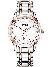 BUREI Damen Uhren Schlichtes Elegantes weißes Zifferblatt Roségold Gehäuse Datumsanzeige Zweifarbiges Edelstahlband