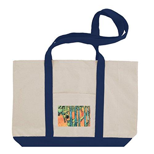 - Marguerite Gachet Garden #1 (Van Gogh) Cotton Canvas Boat Tote Bag - Royal Blue