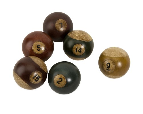IMAX 70280-6 Antique Pool Balls - Set of 6 Snooker Balls for Game Room, Den - Hand Painted Decorative Billiard Balls. Billiard and Pool (Snooker Diameter Ball)