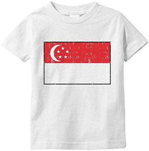 Amdesco Flag of Singapore Singaporean Infant T-Shirt, White 6 Month