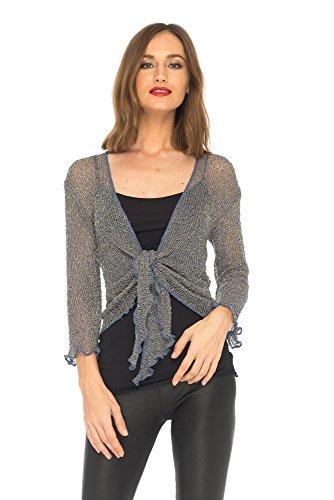 - SHU-SHI Womens Sparkly Metallic Knitted Sheer Shrug Cardigan Bolero Top One Size Fits Most