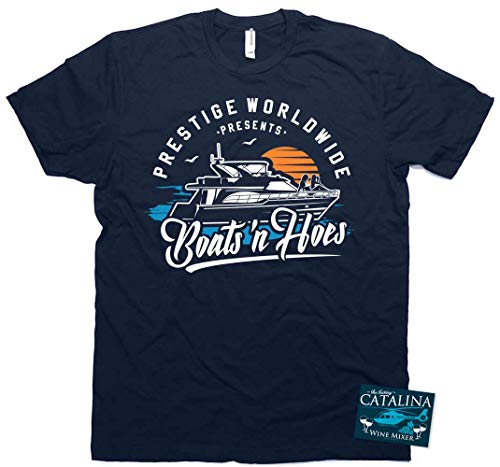 Prestige Worldwide ~ Boats N Hoes T-Shirt Step and Brothers with Sticker