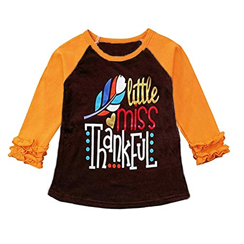 MAMOWEAR Toddler Baby Girls Blouse Thanksgiving Ruffles Long Sleeve T-Shirt Tops Clothes Outfits