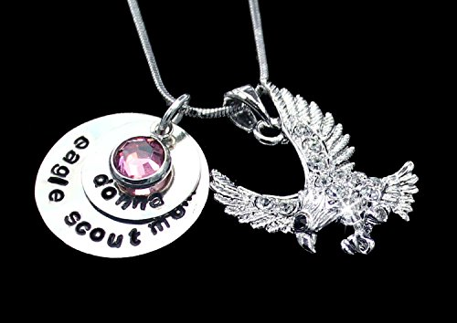 Personalized Crystal Eagle Scout Mom Charm Necklace | Eagle Scout Mom Charm Jewelry | Silver Eagle Scout Mom Charm Necklace | Personalized Charm Jewelry | Personalized Eagle Scout Mom Charm Pendant