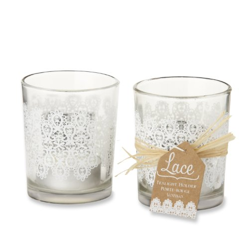 (Kate Aspen Set of 4 Lace Frosted-Glass Tealight Holder)