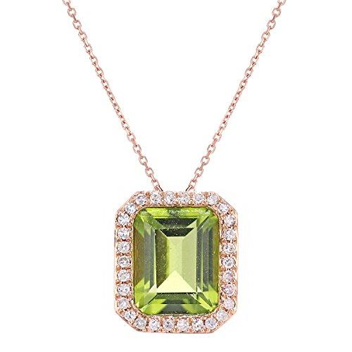 Revoni Bague en or rose 9ct-Diamant et Peridot Coupe rectangulaire-Collier Femme-Pendentif