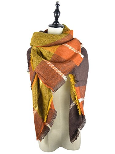 - Cozy Warm Plaid Blanket Scarf Womens Big Square Long Soft Tassel Checked Scarves Shawl Wrap Brown Mixed