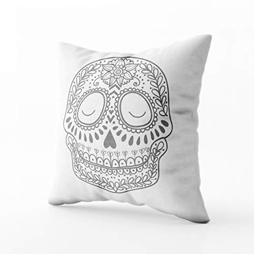(Musesh Holiday Throw Pillows, Coloring Page Children Day of The Dead Colorful Sugar Skull with Doodle Ornament and Flower for Sofa Home Decorative Pillowcase 18X18Inch Pillow)