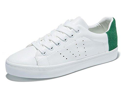 SHFANG Señora Zapatos Plano Plano Zapatos Casual Movimiento Cómodo Estudiantes Escuela de Compras Diarias Blanco Green