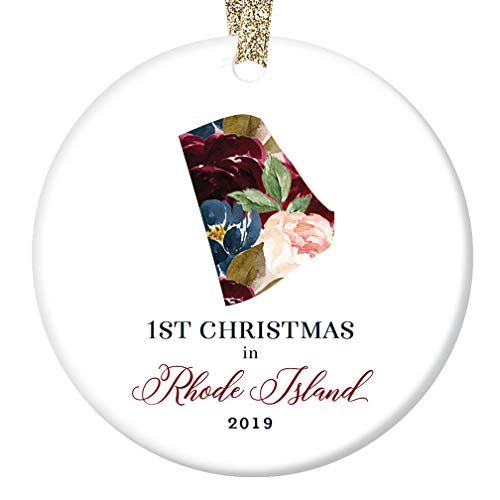 2019 Porcelain Christmas Tree Ornament Keepsake 1st First Holiday Season Living in RHODE ISLAND Collectible Present Family Relative Friends Pretty Floral 3