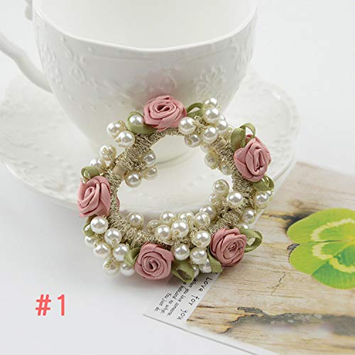 Sweet Women Girls Fashion Beads Flower Pearls Elastic Rubber Hair Bands Hair Rope Hair Ring Hair Accessories -