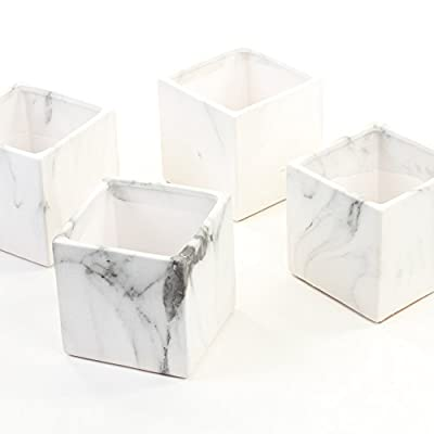 Koyal Wholesale Marble Decor, Black White Marble Effect Square Cube Vase Centerpiece for Marble Wedding, 4-Pack, Mable Home Decor, Marble Desk Accessories (4-Inch) - MARBLE INSPIRED FINISH . Distinct black and white marbled design on outer surface of cylinder vases. Our marble inspired finish gives you the look of real marble, without expenses of it. SIZE DIMENSIONS: Each vase is 4 inches wide x 4 inches tall. Pairs well with floral foam for long lasting flower arrangements. For decorative purposes only, not food safe. EXCELLENT QUALITY. Our marble decor items are made using quality ceramic material. Safely holds water, floral foam, flower arrangements, votive candles and tea light candles. Makes a great succulent planter, and desk decoration. Pairs well with some terrarium kit and terrarium plants. - living-room-decor, living-room, home-decor - 41O6PXgRntL. SS400  -