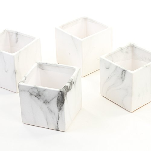 Koyal Wholesale Marble Decor, Black White Marble Effect Square Cube Vase Centerpiece for Marble Wedding, 4-Pack, Mable Home Decor, Marble Desk Accessories -